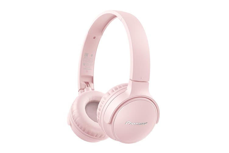 Pioneer On-Ear Bluetooth Headphones with Microphone - Pink (SES3BTP)