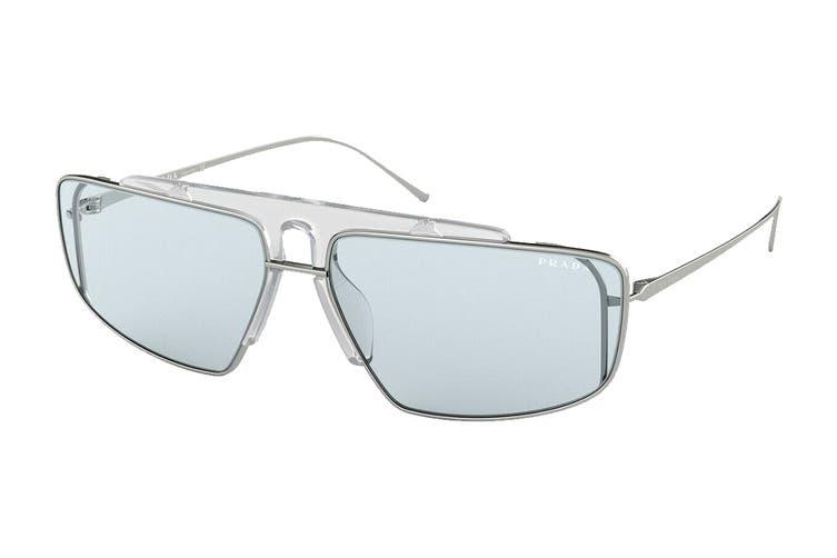 Prada 0PR50VS Sunglasses (Silver/Transparent) - Light Blue
