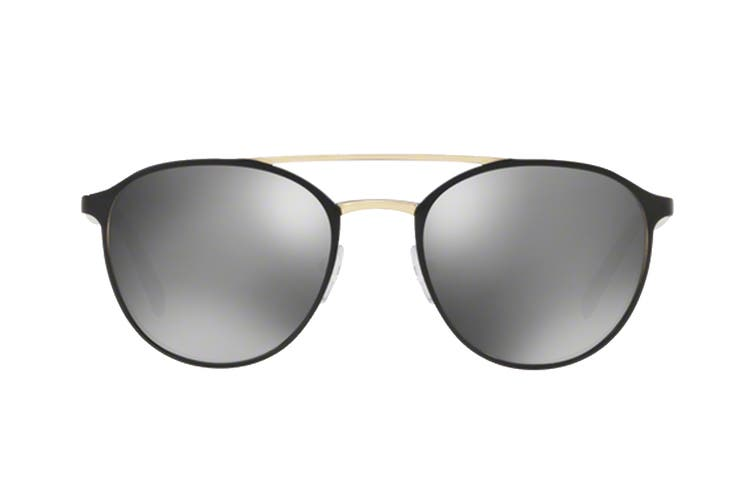 Prada 0PR62TS Sunglasses (Black/Pale Gold) - Grey Mirror Silver