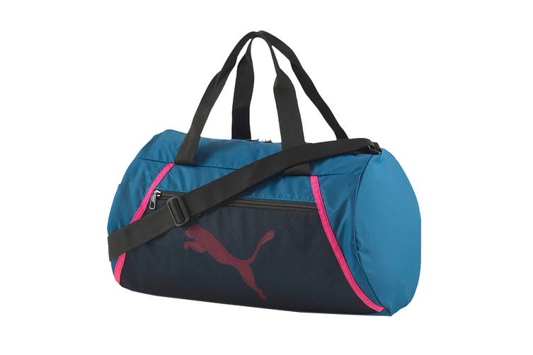 Puma Women's AT ESS Barrel bag (Digi-blue- Black-Luminous Pink)