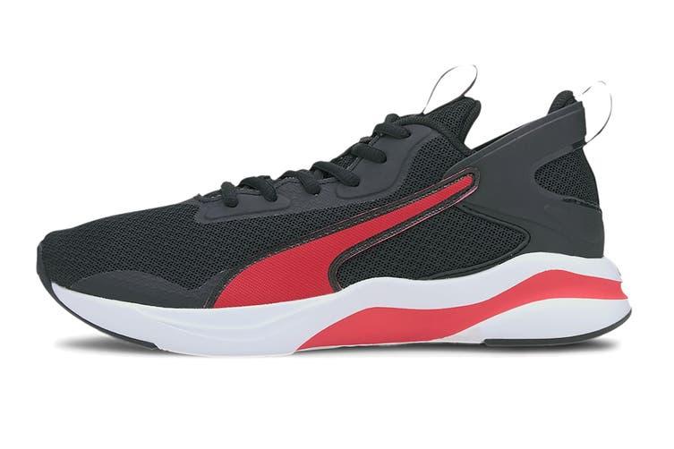 Puma Boys' SOFTRIDE RIFT Junior Shoe (Puma Black-High Risk Red, Size 5C US)