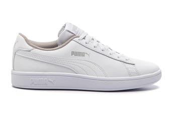 Puma Boys' Puma Smash v2 L Junior Shoe (Puma White-Puma White)