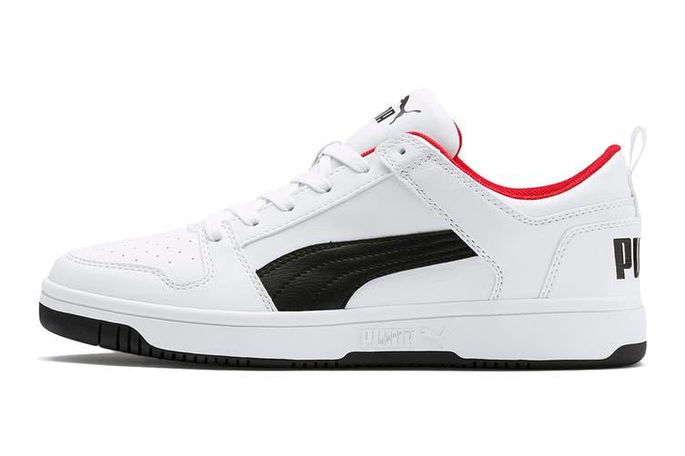 Puma Men's Puma Rebound LayUp Lo SL Shoe (Puma White-Puma Black-High Risk Red, Size 12)