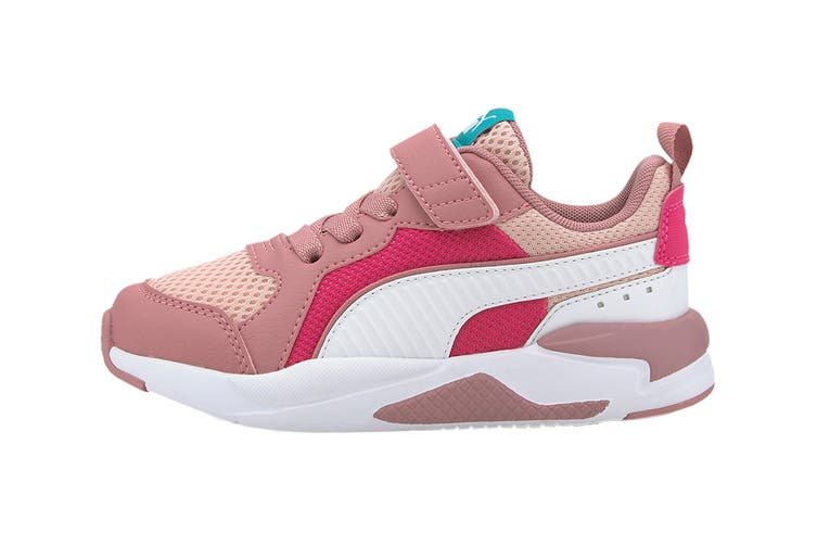 Puma Girls' X-Ray AC Pre-School Shoe (Peachskin-Puma White-Foxglove-Glowing Pink-Viridian Green's, Size 11C US)
