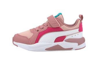Puma Girls' X-Ray AC Pre-School Shoe (Peachskin-Puma White-Foxglove-Glowing Pink-Viridian Green's)