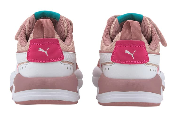 Puma Girls' X-Ray AC Pre-School Shoe (Peachskin-Puma White-Foxglove-Glowing Pink-Viridian Green's, Size 3C US)