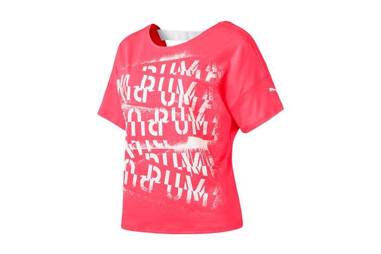 Puma Women's HIT Feel It Tee (Pink Alert, Size XL)