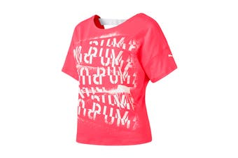 Puma Women's HIT Feel It Tee (Pink Alert, Size XS)