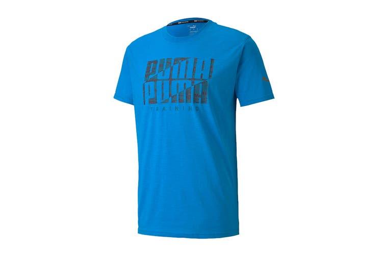 Puma Men's Performance Branded Short Sleeve Tee (Nrgy Blue/Digi Camo Puma, Size L)