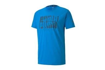 Puma Men's Performance Branded Short Sleeve Tee (Nrgy Blue/Digi Camo Puma, Size M)