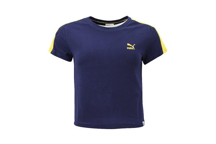 Puma Women's Fenty Classics Structured Tee (Navy Blue, Size XS)