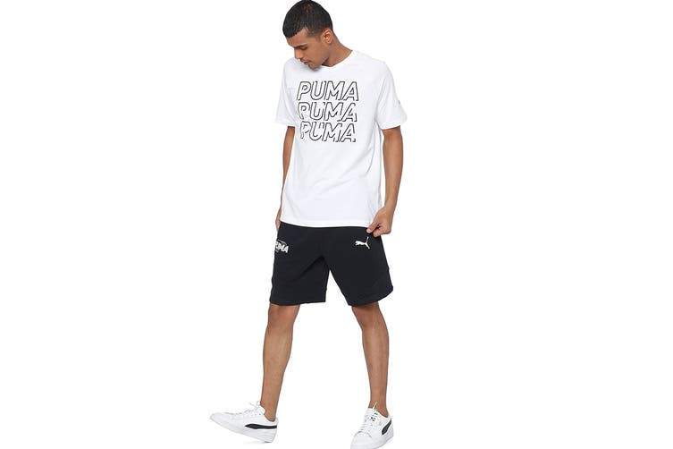 Puma Men's MODERN SPORTS Logo Tee (Puma White/Puma Black, Size M)