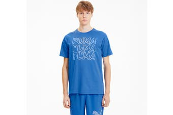 Puma Men's MODERN SPORTS Logo Tee (Palace Blue, Size S)