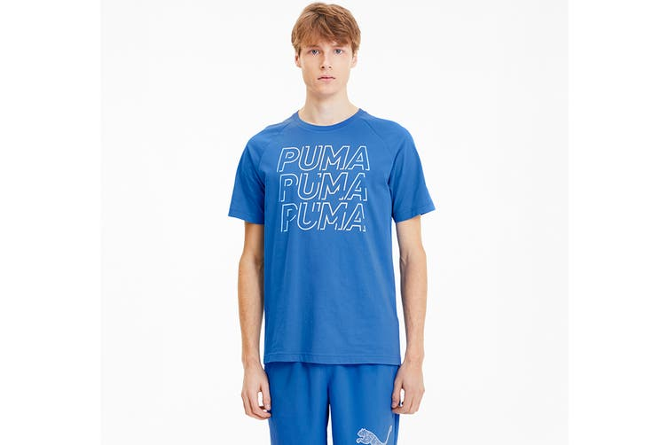 Puma Men's MODERN SPORTS Logo Tee (Palace Blue, Size XL)
