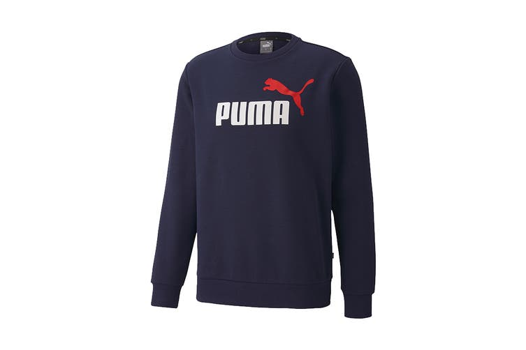 Puma Men's ESS 2 Col Crew Sweat FL Big Logo (Peacoat, Size XL)