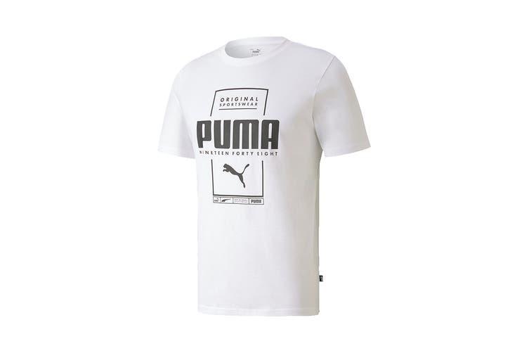 Puma Men's Box PUMA Tee (Puma White, Size XXL)