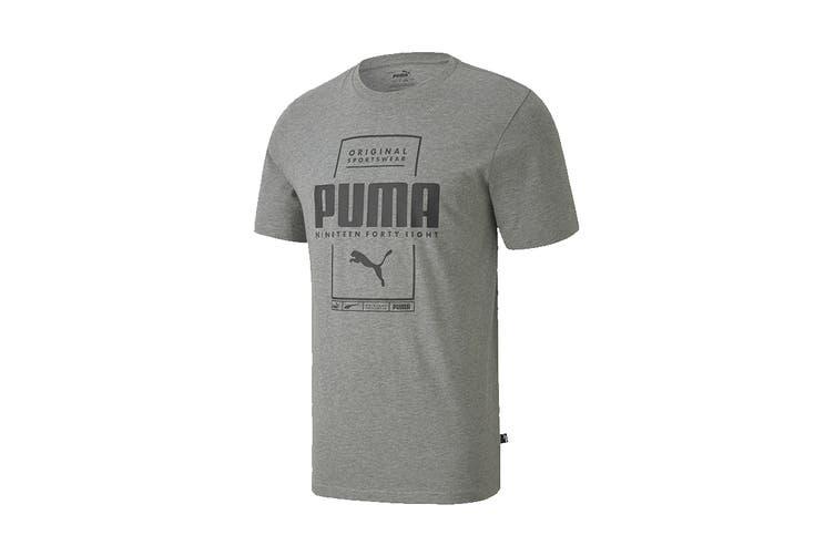 Puma Men's Box PUMA Tee (Medium Gray Heather, Size S)