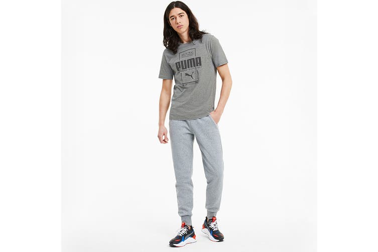 Puma Men's Box PUMA Tee (Medium Gray Heather, Size XXL)