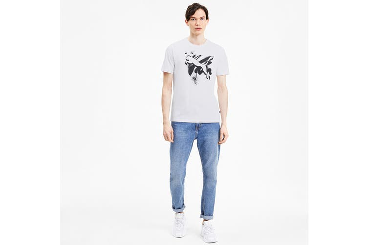 Puma Men's Cat Basic Tee (Puma White, Size XXL)