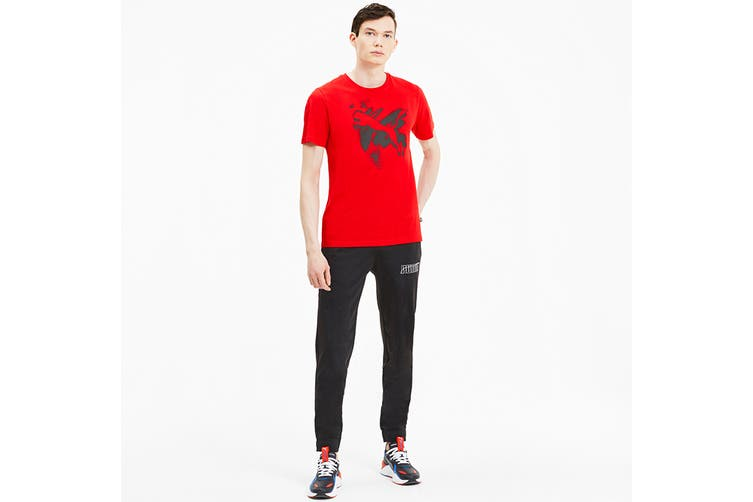 Puma Men's Cat Basic Tee (High Risk Red, Size L)