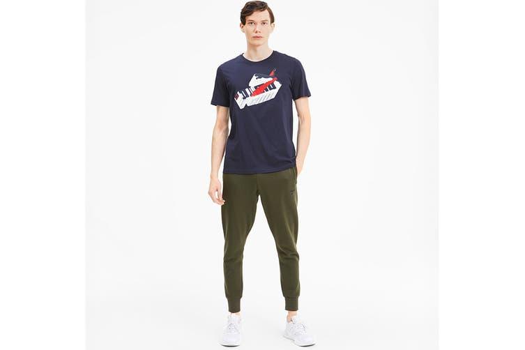 Puma Men's Sneaker Inspired Tee (Peacoat, Size M)