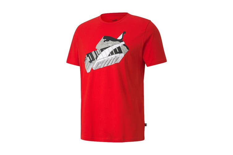 Puma Men's Sneaker Inspired Tee (High Risk Red, Size L)