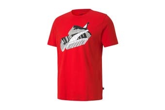 Puma Men's Sneaker Inspired Tee (High Risk Red, Size M)