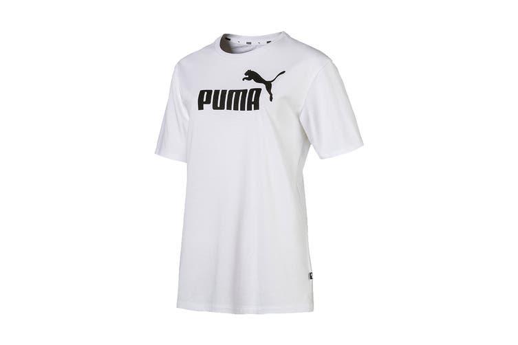 Puma Women's ESS+ Logo Boyfriend Tee (Puma White, Size M)