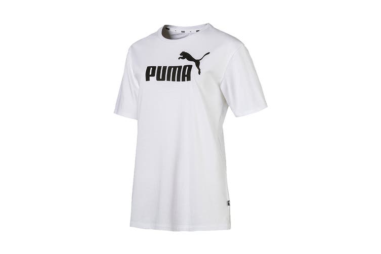 Puma Women's ESS+ Logo Boyfriend Tee (Puma White, Size S)