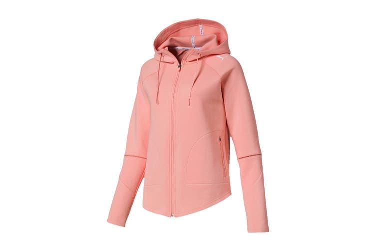 Puma Women's Evostripe Move Hooded Jacket (Peach Bud, Size M)