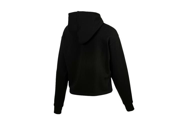 Puma Women's ESS+ Logo Cropped Hoody (Cotton Black, Size XL)