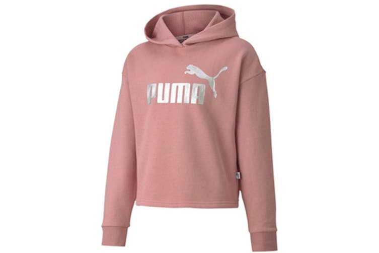 Puma Women's ESS+ Logo Cropped Hoody (Foxglove, Size M)