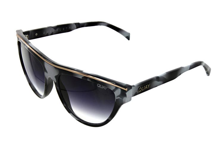 Quay FLIGHT Sunglasses (Black White Tortoise, Size 50-13-150) - Black Fade