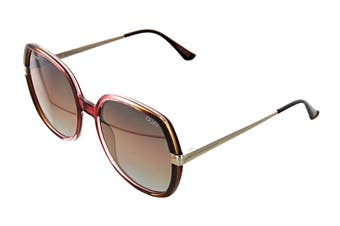 Quay GOLD Sunglasses (Toffee Pink, Size 55-17-148) - Brown Flash