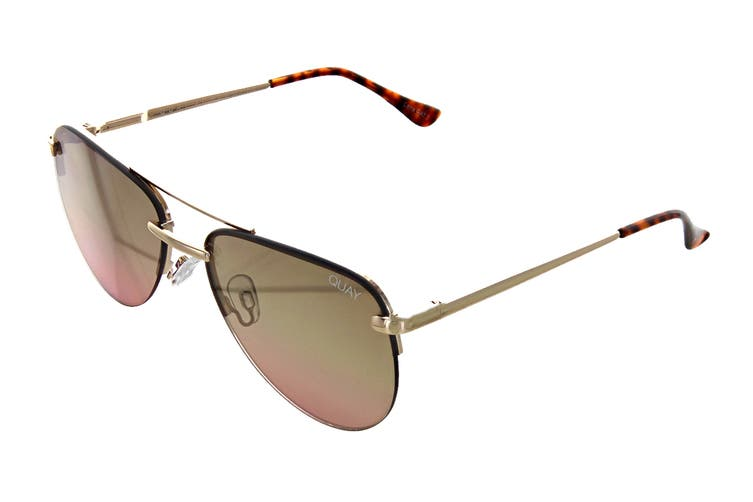 Quay THE Playa Mini Sunglasses (Gold, Size 50-15-137) - Brown Pink Flash