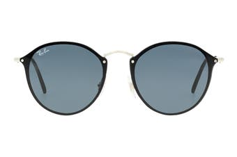 Ray Ban 0RB3574N Blaze Round Sunglasses(Silver) - Dark Grey Classic