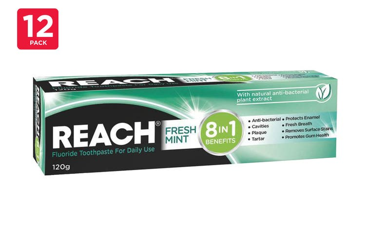 Reach 120G Toothpaste 8 In 1 Benefits Fresh Mint (12 Pack)