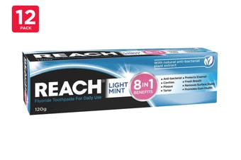 Reach 120G Toothpaste 8 In 1 Benefits Light Mint (12 Pack)