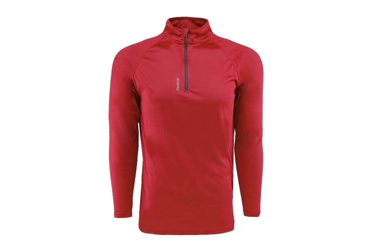 Reebok Men's Play Dry 1/4 Zip Jacket (Red, Size 2XL)