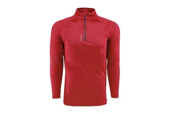 Reebok Men's Play Dry 1/4 Zip Jacket (Red)
