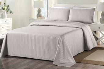 Royal Comfort 1000TC Blended Bamboo Bed Sheet Set with Stripes (Queen, Silver Grey)