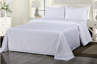 Royal Comfort 1000TC Blended Bamboo Bed Sheet Set with Stripes (King, White)