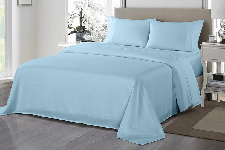 Royal Comfort 1200TC Ultrasoft Microfibre Bed Sheet Set (Double, Sky Blue)