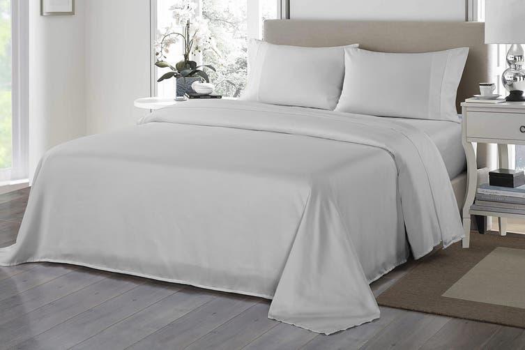 Royal Comfort 1200TC Ultrasoft Microfibre Bed Sheet Set (Double, Silver)