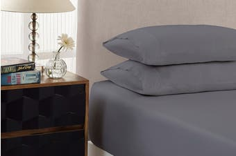 Royal Comfort 1500TC Cotton Blend 3-Piece Fitted Bed Sheet Set (Dusk Grey)