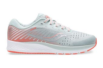 Saucony Kids Guide 13 Running Shoe (Grey/Coral, Size 6 US)