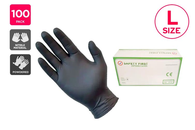 Safety First Nitrile Synthetic Rubber Gloves Powdered Black - L (100 Pack)