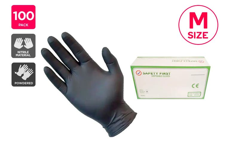 Safety First Nitrile Synthetic Rubber Gloves Powdered Black - M (100 Pack)