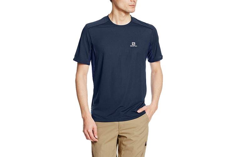 Salomon Trail Runner Short Sleeve Tee Men's (Dress Blue, Size XL)