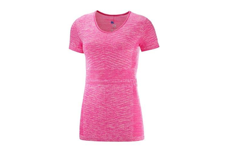 Salomon Elevate Move'On Short Sleeve Tee Women's (Pink Yarrow, Size Medium)